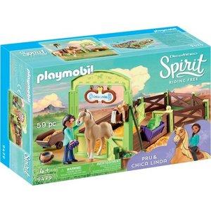 Playmobil Spirit Pru en Chica Linda met Paardenbox 9479
