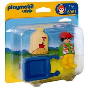Playmobil 1 2 3 Arbeider met Kruiwagen 6961