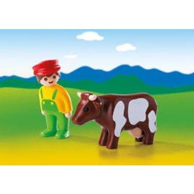 Playmobil Playmobil 1 2 3 Boer met Koe 6972