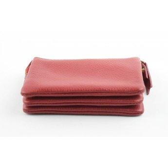 cf89d31b929 PM 29360 rood, prachtige compacte leren damesportemonnee ...