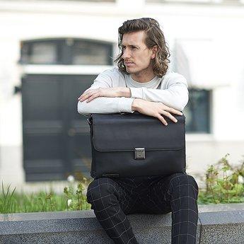 Plevier prachtige lederen aktetas, laptoptas