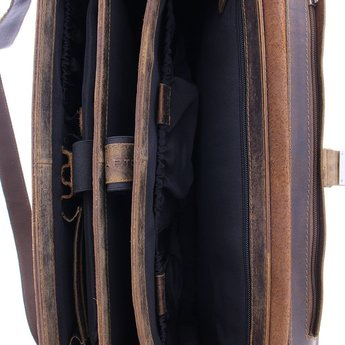 Plevier lederen 17.3 inch laptoptas