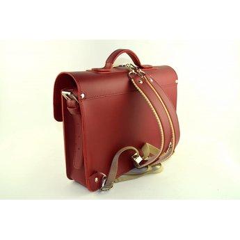 Ruitertassen vintage boekentas in rood leder