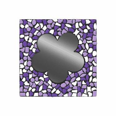 Cristallo Spiegel Bloem Wit-Paars-Violet Mozaiek pakket PREMIUM
