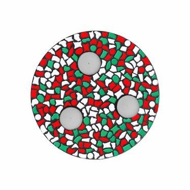 Cristallo Waxinelichthouder Rood-Wit-Groen Mozaiek pakket PREMIUM