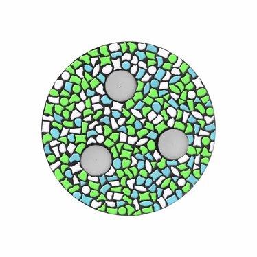 Cristallo Waxinelichthouder Wit-Lichtblauw-Lichtgroen Mozaiek pakket PREMIUM