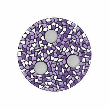 Cristallo Waxinelichthouder Wit-Paars-Violet Mozaiek pakket PREMIUM