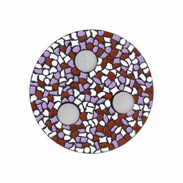 Cristallo Waxinelichthouder Wit-Violet-Bruin Mozaiek pakket PREMIUM