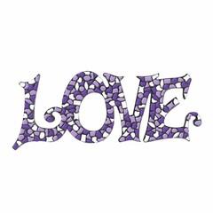 Cristallo Mozaiek pakket LOVE Wit-Paars-Violet Premium