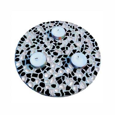 Cristallo Waxinelichthouder Zwart-Wit