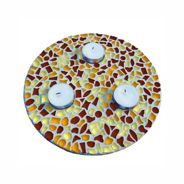 Cristallo Waxinelichthouder Bruin-Oranje-Geel