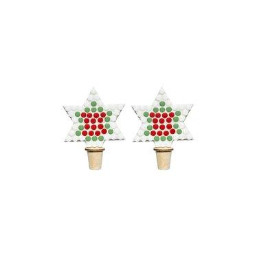 Flessenstop set/2 Ster Kerst