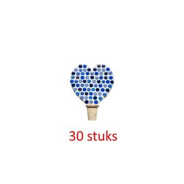Flessenstop Hart Blauwtinten 30 stuks