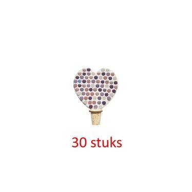 Flessenstop Hart Rose-paarstinten 30 stuks
