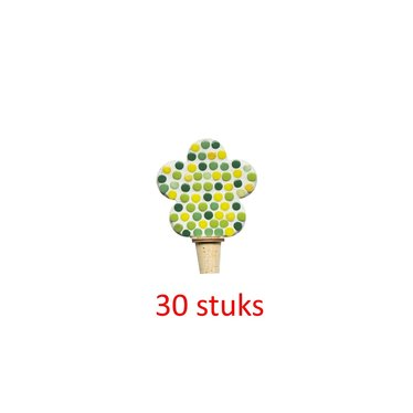 Flessenstop Bloem Groentinten 30 stuks