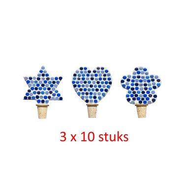 Flessenstop Hart/Ster/Bloem Blauwtinten 30 stuks