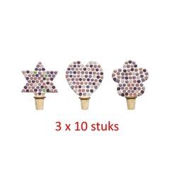 Flessenstop Hart/Ster/Bloem Rose-paarstinten 30 stuks