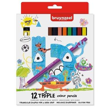 Kleurpotloden Bruynzeel 3-kantig 12 stuks