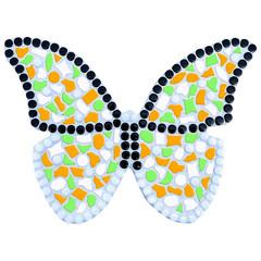 Cristallo Mozaiek pakket Vlinder Oranje-Lichtgroen-Wit
