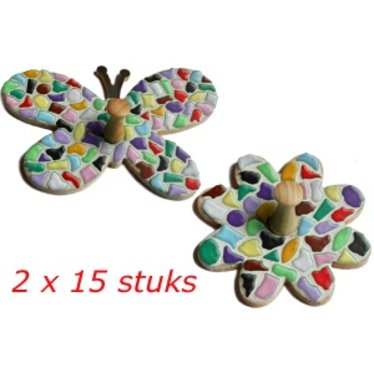 Cristallo Kledinghanger Bloem/Vlinder 2x15 stuks Mozaiek pakket