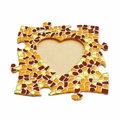 Cristallo Mozaiek pakket Fotolijst Hart Bruin-Oranje-Geel