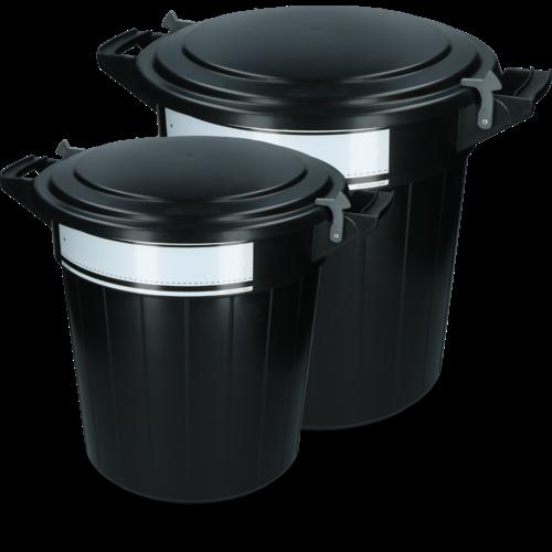 Voerton 40 liter zwart met deksel, slot en schrijflabel