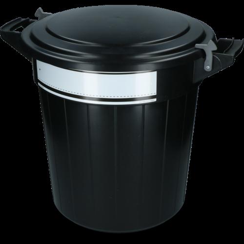 Voerton 80 liter zwart met deksel, slot en schrijflabel