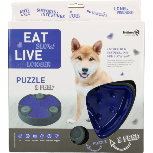 Eat Slow Live Longer Puzzle and Feed Blue