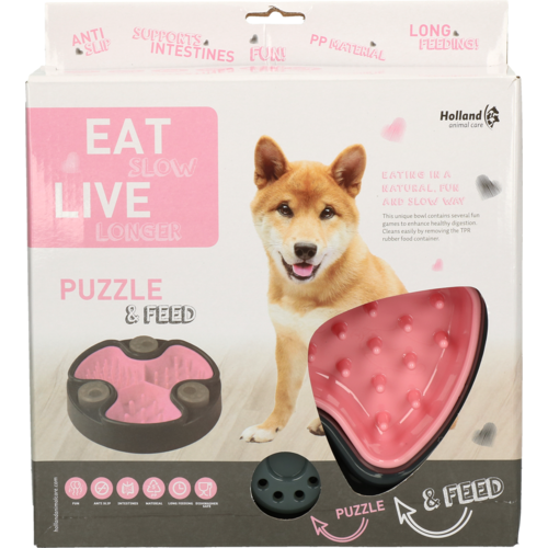 Eat Slow Live Longer Puzzle and Feed Pink