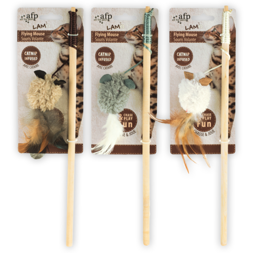 All for paws AFP AFP Lambswool-Wand+Mouse with Feather Catnip
