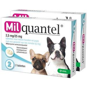 Milquantel 2,5 mg/25 mg Puppy/Kleine hond 4 tabl. <5kg