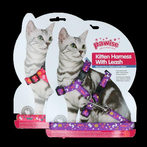 Pawise Kitten Harness Leash-Pink/Purple