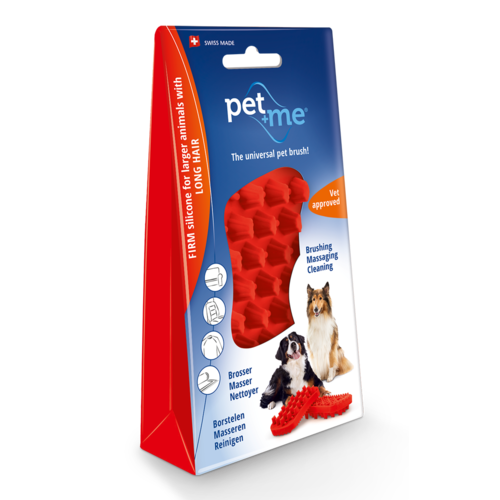 Pet en Me Brushes Pet+Me Dog Long Hair Brush Red