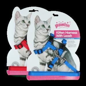 Pawise Kitten Harness Leash-Red/Blue