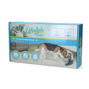 AFP AFP Lifestyle 4 Pet-3 In 1 Elevated Double Dinner - M