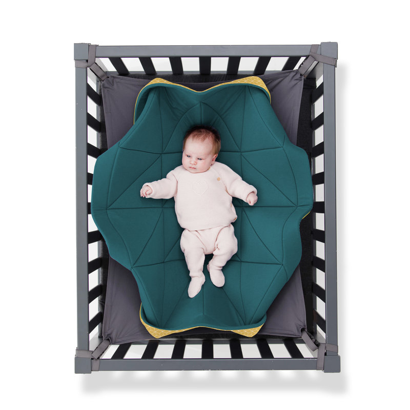 Hangloose Baby - babyhangmat / boxkleed - Petrol Oker Geel