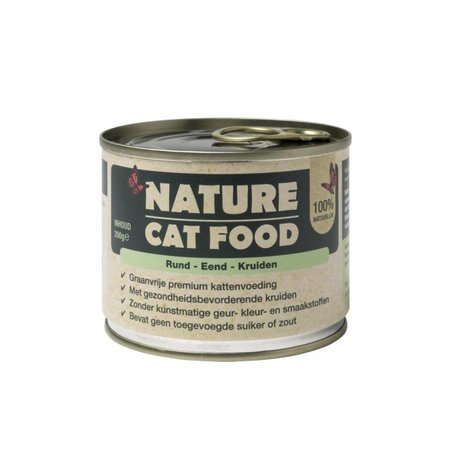 Nature Dogfood  Nature Cat Food blikvoer met rund, eend en kruiden