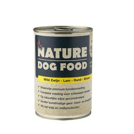 Nature Dogfood  Nature Dogfood blikvoeding voor honden met wild zwijn, rund, lam & bramen