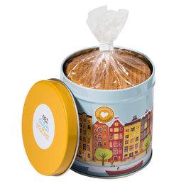 Original Dutch Syrup Waffles in an Amsterdam tin can