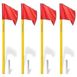 Cornervlaggen set – vlaggenstok met scharnier (wit)
