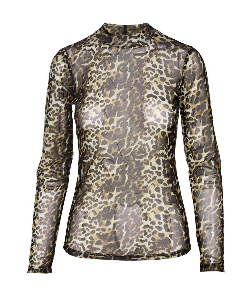 NÜ Denmark Animal mesh top met turtleneck