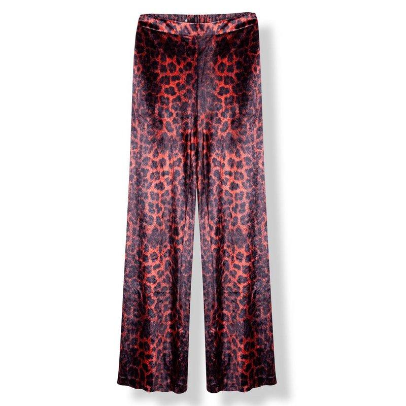 Alix The Label Velvet wide leg animal pants