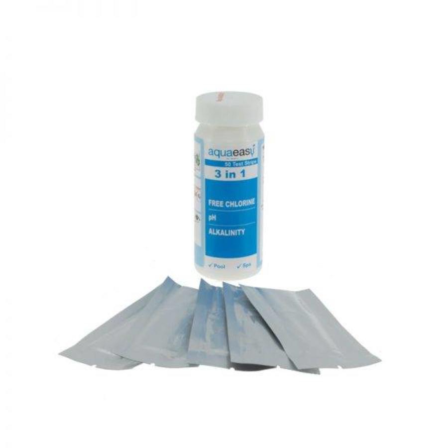Aqua Easy Teststrips 3 in 1, 50 strips per flesje voor pH/vrij chloor/alkaliteit-2