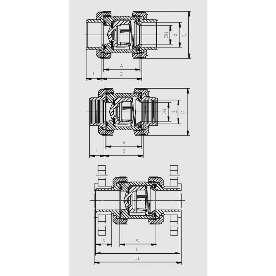 PVC terugslagklep Praher s6 63mm transparant-2