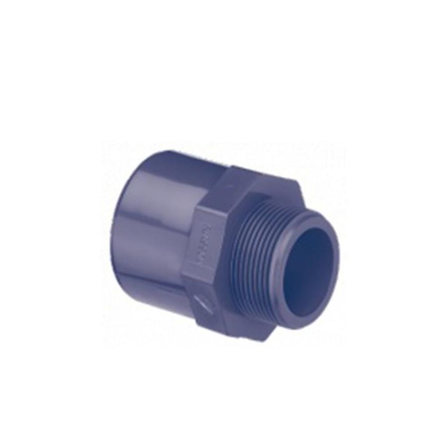 PVC puntstuk recht met 6-kant 50/63MM x 1''-1