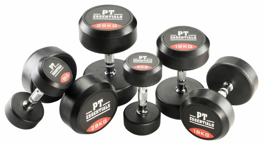 PTessentials PRO Ronde Rubberen Dumbbells | Set 22 t/m 30 kg