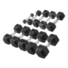 Body-Solid Hexa Rubber Dumbbell Set 1 -10 kg + opbergrek