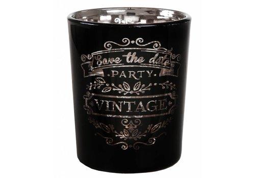 Theelichthouder Vintage zwart