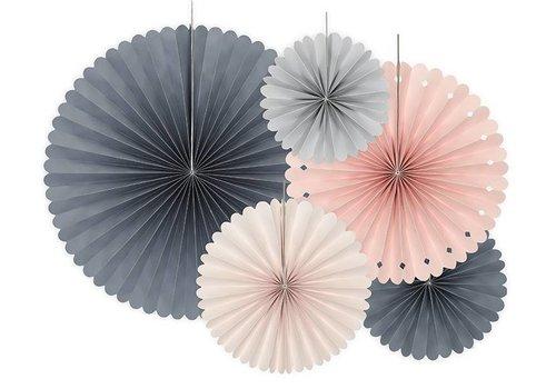 Papieren waaiers roze, blauw, grijs (5 stuks)