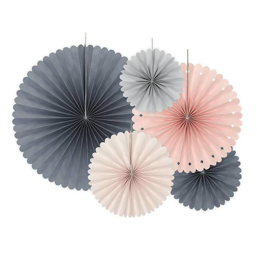 Papieren waaiers roze, blauw, grijs (5 stuks)-1